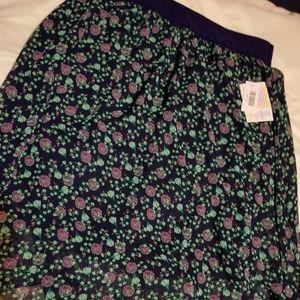 Lularoe Purple and Green flower pattern Lola Skirt